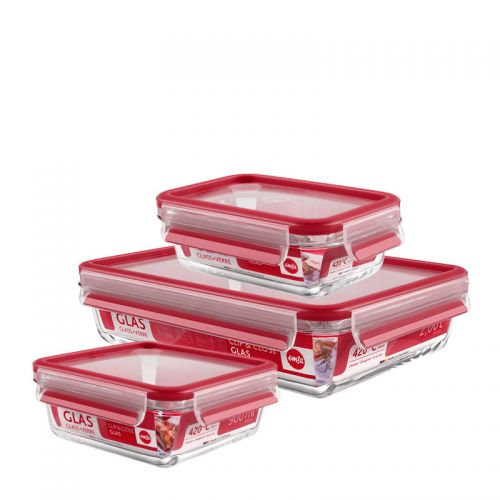 EMSA玻璃保鮮盒3件組 紅色(514168) 0...